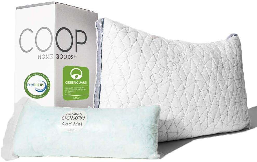 Coop Home Goods shredded memory foam pillow review and buying guide by www.dailysleep.org